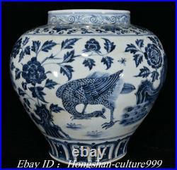 14Old White Blue Porcelain Peacock Peahen Crock Bowl Pot Jar