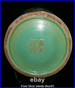 14Qianlong Marked Old Famille Rose Porcelain Plum Blossom Bird Bottle Vase Pair