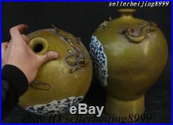 14 China Porcelain Bird Phoenix Pixiu God Beast Flower Bottle Vase Statue Pairs