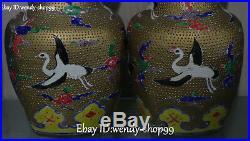 14 Color Porcelain Gilt Crane Bird Gourd Bottle Pitcher Vase Jug Statue Pair
