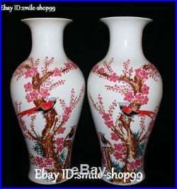 14 Color Porcelain Plum blossom Magpies Bird Flower Vase Bottle Statue Pair