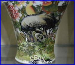 14 Enamel Wucai Porcelain Plum Blossom Flower Magpie Bird Vase Bottle Flask Jar