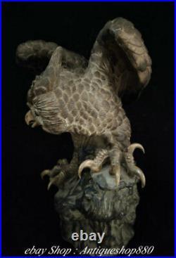 14 Old China Wucai Porcelain owl Night owl Nighthawk Bird Animal sculpture