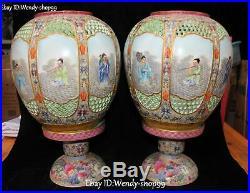 14 Rare Color Porcelain Phoenix Bird Eight Immortals God Vase Bottle Jar Pair