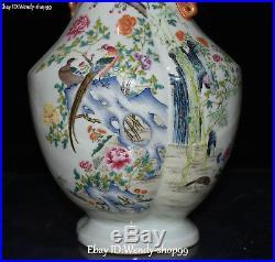 14 Unique Enamel Color Porcelain Magpie Bird Tree Flower Vase Bottle Flask Pot