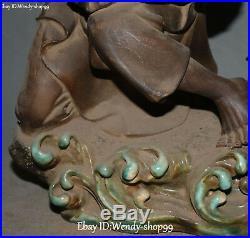 14 Wucai Porcelain Older Person Man Fisherman Cranes Bird Shell Basket Statue