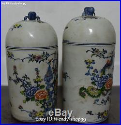 14 Wucai Porcelain Phoenix Bird Peony Flower Tank Jar Pot Crock canister Pair