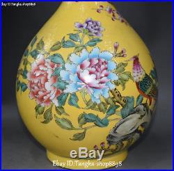 14 Wucai Porcelain Plum blossom Peony Phoenix Bird Flower Vase Bottle Statue