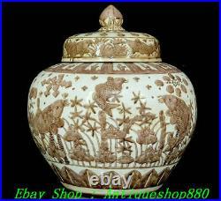 15Old Ming Jiajing Dynasty Color Porcelain Waterlity Fish Palace Jar Pot Crock