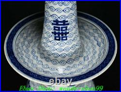 15.7Old China Qing Year Blue white porcelain Candle Holder Candlestick Pair