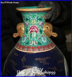 15 China Color Porcelain Gilt Magpie Bird Plum Tree Flower Vase Bottle Pot