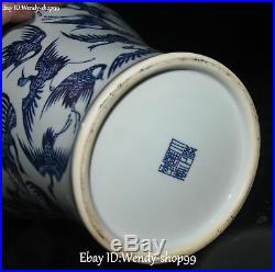 15 China White Blue Porcelain Cranes Bird Flower Pot Kettle Flask Bottle Statue