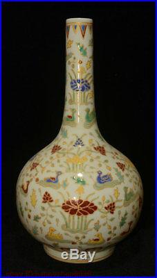 15 Folk Chinese Porcelain Palace Mandarin Duck Bird Flower Bottle Vase Pot Pair