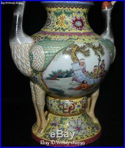 15 Unique Enamel Porcelain Older Cranes Bird Flower Ding Incense Burner Censer