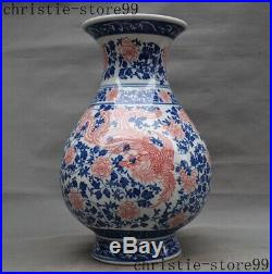 16 Chinese Blue White porcelain Phoenix bird Flower Bottle Pot Vase Jar statue