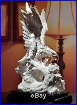 16 Chinese Colour Porcelain Tree Dazhan Hongtu Eagle Hawk King Birds Statue