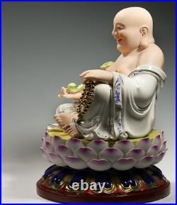 16 Dehua Colour Porcelain Auspicious Ru Yi Happy Maitreya Buddha Bead Statue