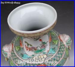 16 Old China Dehua Porcelain Lion Beast Parrot Bird Tree Flower Vase Bottle Pot