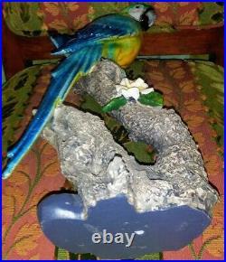 16 Vibrant Color! MACAW PARROT On Branch Statue Figure Ceramic Porcelain Art