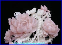 17Natural Pink Jade Carving Peony Bird Flower basket Potted plants Statue