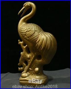 17.2 Chinese Porcelain Gilt Crane Cranes Bird Lucky Statue Sculpture Decoration