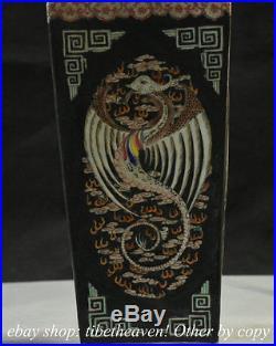 17.6 Marke Old China Black Wucai Porcelain Palace Phoenix God Bird Bottle Vase
