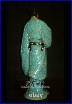 17 Chinese Shiwan Wucai Porcelain People Man Mastermind Zhuge Liang Fan Statue