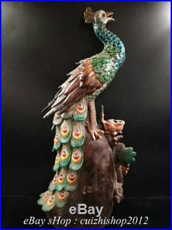 17 Old China Shiwan Porcelain Peony Flower Peacock Peafowl Bird Statue