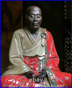 17 Old Chinese Marked Shiwan Porcelain Six Ancestor Masters Monk Buddha Statue
