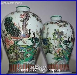 17 Unique Color Porcelain Peacock Peahen Bird Tree Flower Vase Bottle Pot Pair