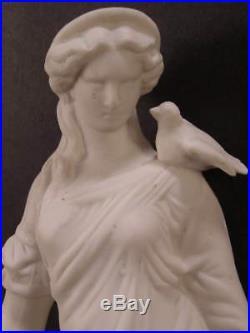 1800s Minton Parian Porcelain Bisque Relief Molded Figure Statue Cornucopia Bird