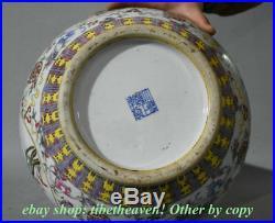 18.8 Marked Old Chinese Wucai Porcelain Dynasty Lotus Flower Bird Bottle Vase