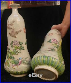 18 China Porcelain Peacock Bird Statue Wine Jar Flask Flower Bottle Vase Pair