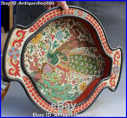 18 Chinese Wucai Porcelain Peacock Peafowl Bird Fish Flower Statue Tray Plate