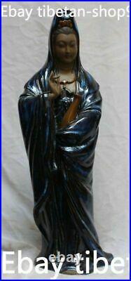 18 Old Shiwan Porcelain Stand Kwan-Yin Guan Yin Bodhisattva Goddess Vase Statue