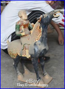 18 Old Tang Sancai Pottery Porcelain Man Person Bird Horse Ancient Statue Pair