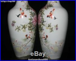 18 Unique China Wucai Porcelain Magpie Birds Flower Bottle Vase Jar Statue Pair