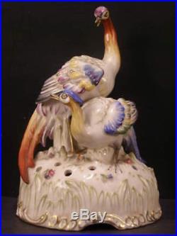 1910 Schierholz German Porcelain Pheasant Peacock Bird Figure Statue Flower Frog