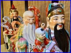 1970s Large 25 TROUBLE MAKERS Fu Lu Shou Chinese Porcelain Ceramic Statues