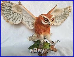 1990 Franklin Mint THE SCREECH OWL by George McMonigle Porcelain Statue Figurine