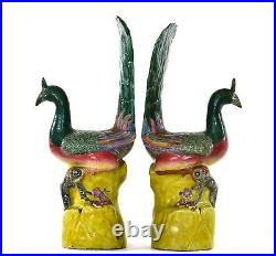 19C Chinese 2 Export Famille Rose Porcelain Peacock Bird Figure 14T AS IS