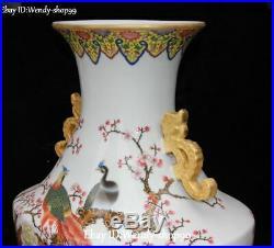 19Color Porcelain Plum Blossom Peony Flower Phoenix Phenix Bird Vase Bottle Jar