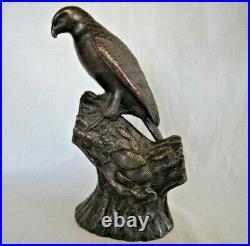19Th HAWK Bird 11.6 inch Statue BIZEN Ware Porcelain Japanese Antique Figurine