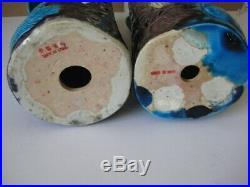 19/20c s X LARGE PAIR CHINESE PORCELAIN TUQUOISE BLUE PHOENIX BIRD FIGURES