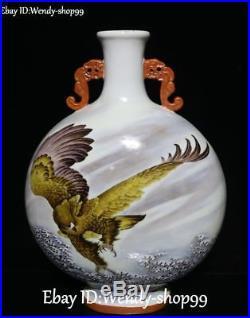 19 Enamel Porcelain Eagle Bird Hawk Tank Pot Kettle Flask Jar canister Staue