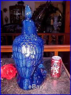 1 ONLY! HUGE Near 17Tx10.5 COBALT BLUE Cockatoo LIFESIZE Bird Figurine Statue