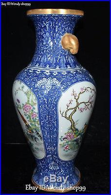 20 Enamel Color Porcelain Gold Gilt Elephant Magpie Bird Flower Vase Pot Flask