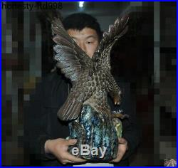 21China Zisha Pottery porcelain glaze carved Eagle Hawk Glede Bird King Statue