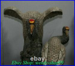 21.6 Collect China Wucai Porcelain Red-crowned crane Crane Bird Animal Statue