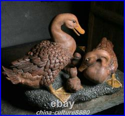 21 Big Chinese Shiwan Porcelain Fengshui Duck Birds Family Animal Sculpture